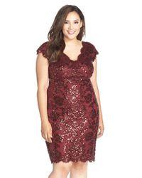 Tadashi Shoji | Red Sequin-Lace Sheath Dress | Lyst