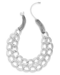 INC International Concepts | Metallic Silver-tone Two-row Link Necklace | Lyst