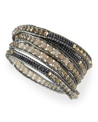 Nakamol - Metallic Crystal & Agate Beaded Wrap Bracelet - Lyst