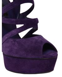 Casadei | Purple 150mm Blade Suede Cage Sandals | Lyst