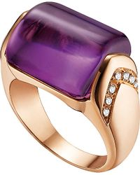 BVLGARI | Mvsa 18Ct Pink-Gold, Amethyst And Diamond Ring - For Women | Lyst
