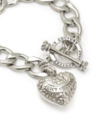 Juicy Couture | Metallic Pave Banner Heart Starter Bracelet | Lyst