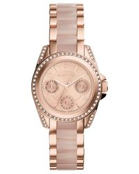 Michael Kors - Pink Women'S Chronograph Mini Blair Blush And Rose Gold-Tone Stainless Steel Bracelet Watch 33Mm Mk6175 - A Macy'S Exclusive - Lyst