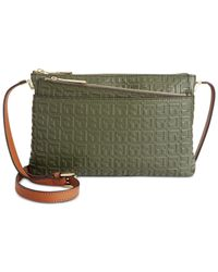 Tommy Hilfiger | Green Hinge Debossed Nappa Leather Envelope Crossbody | Lyst