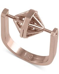 French Connection | Pink Gold-tone Spinning Geometric Ring | Lyst