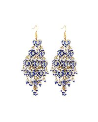 Chamak by Priya Kakkar | Blue Diamond-shape Tiered Chandelier Earrings | Lyst