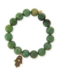 Sydney Evan | Green 10mm Jade Beaded Bracelet With 14k Gold Diamond Hamsa Charm | Lyst