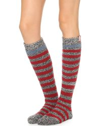 HUNTER - Striped Loop Knit Knee Socks - Black/white/iron - Lyst