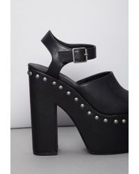 Forever 21 - Black Faux Leather Peep-toe Platform Clogs - Lyst