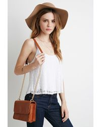 Forever 21 | Brown Structured Flap-Top Crossbody | Lyst