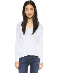 Sundry | White Boxy Long Sleeve Tee - Royal Blue | Lyst