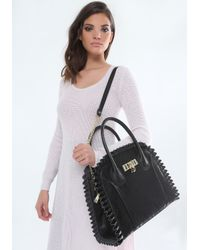 Bebe - Black Vergara Lace Satchel - Lyst