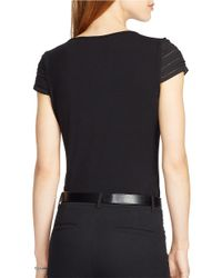 Lauren by Ralph Lauren | Black Petite Pintucked Cap-sleeved Top | Lyst