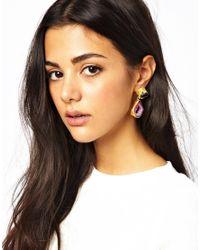 Kasturjewels | Purple 22kt Gold Plated Brass Rough Cut Semiprecious Stone Earrings | Lyst