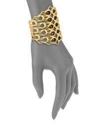 Alexis Bittar - Metallic Elements Maldivian Lapis Scalloped Aigrette Cuff Bracelet - Lyst