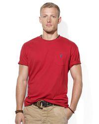 Polo Ralph Lauren - Red Cotton Jersey Pocket T-shirt for Men - Lyst