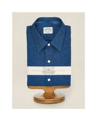 RRL - Blue Slim Indigo Pin Dot Shirt for Men - Lyst