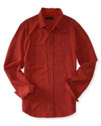 Aéropostale   Orange Long Sleeve Solid Herringbone Woven Shirt for Men   Lyst