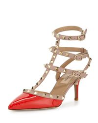Valentino - Orange Rockstud Leather Mid-heel Pump - Lyst