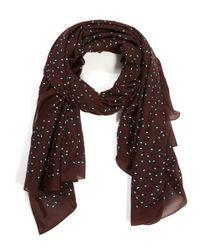 Balenciaga - Red Burgundy Petal Printed Cotton-silk Scarf - Lyst