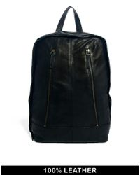 ASOS | Black Leather Backpack with Front Zips for Men | Lyst