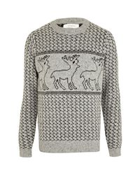 River Island | Gray Grey Reindeer Christmas Sweater for Men | Lyst