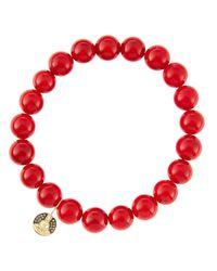 Sydney Evan | 8Mm Red Coral Beaded Bracelet With 14K Gold/Diamond Small Buddha Charm (Made To Order) | Lyst