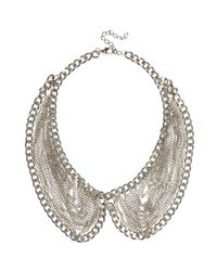River Island - Metallic Silver Tone Draped Chain Collar Necklace - Lyst