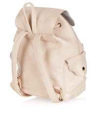 TOPSHOP - Natural Suede Backed Mini Backpack - Lyst