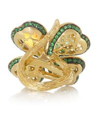 Lydia Courteille - Green Four Leaf Clover 18karat Gold Opal and Tsavorite Ring - Lyst