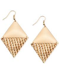 Guess | Metallic Gold-tone Textured Double Triangle Drop Earrings | Lyst