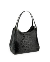 Brahmin | Black Dayton Embossed Leather Shoulder Bag | Lyst