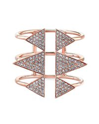 Anne Sisteron | Pink 14kt Rose Gold Diamond Triple Spike Ring | Lyst
