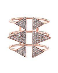 Anne Sisteron | Pink 14kt Rose Gold Diamond Triple Spike Ring | Lyst