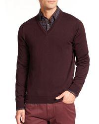 Saks Fifth Avenue - Purple Merino Wool V-neck Sweater for Men - Lyst