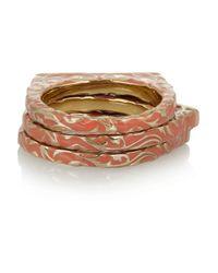 Isharya Metallic Set Of Three Goldplated Enamel and Cubic Zirocnia Rings
