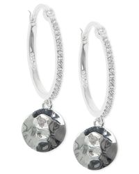 Judith Jack - Blue Silver-Tone And Crystal Hammered Hoop Earrings - Lyst