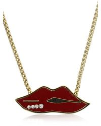 Sonia by Sonia Rykiel - Red Embellished Lips Necklace - Lyst