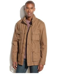Cole Haan - Brown Hooded Four-Pocket Utility Jacket for Men - Lyst
