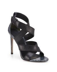 Alexander Wang Black Linda Snakeskin & Leather Strappy Sandals