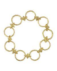 Armenta - 18K Yellow Gold Circle Link & Diamond Bracelet - Lyst