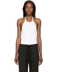 T By Alexander Wang | White Ribbed Halter Bodysuit | Lyst