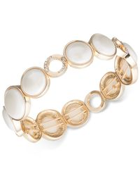 Anne Klein - White Gold-tone Stone And Crystal Stretch Bracelet - Lyst