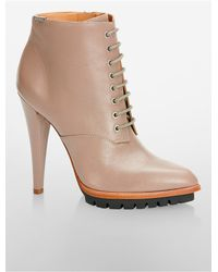 Calvin Klein - Natural Laneige Lace-up Bootie - Lyst