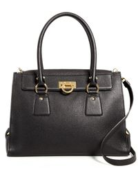 Ferragamo | Black Lotty Medium Leather Satchel | Lyst