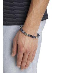 Simon Carter - Blue Sodalite Beaded Skull Bracelet for Men - Lyst