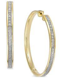 Macy's - Metallic Diamond Hoop Earrings (1/3 Ct. T.w.) In 14k Gold-plated Sterling Silver - Lyst