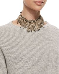 Brunello Cucinelli | Metallic Beaded Fringe Choker Necklace | Lyst