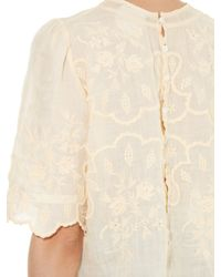 Isabel Marant - Natural Rumba Scallop-edged Embroidered Top - Lyst