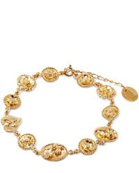 Alex Monroe | Metallic Gold-plated Small Linked Wildflower Cameo Bracelet | Lyst